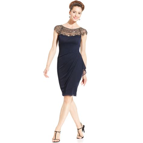 beaded dress lyst xscape cap sleeve illusion beaded dress in blue