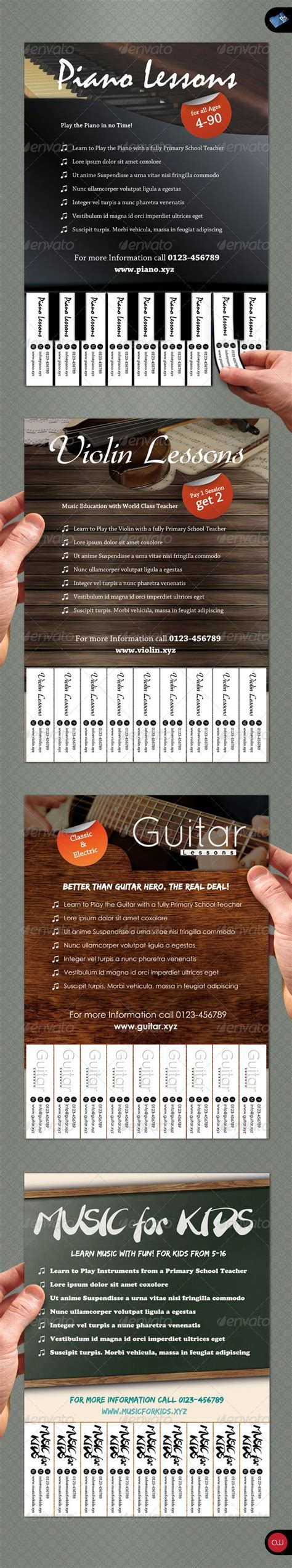 Tear Off Flyer Vol 1 Music Business Pianos And Piano Lessons Tear Flyer Template Illustrator