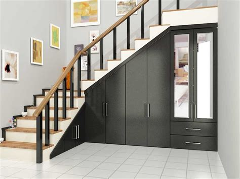 Rak Tangga desain lemari dan ruangan bawah tangga minimalis