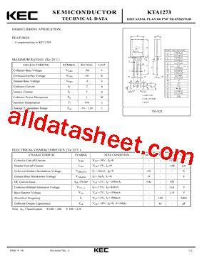 transistor a1273 datasheet kta1273 datasheet pdf kec korea electronics