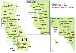find california area codes by map