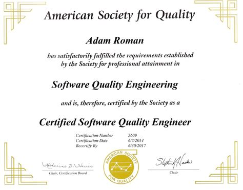 Certified Software Quality Engineer by Adam Homepage