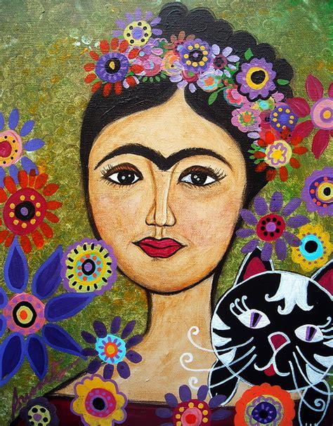 Frida Kahlo Home Decor frida kahlo and cat painting by pristine cartera turkus