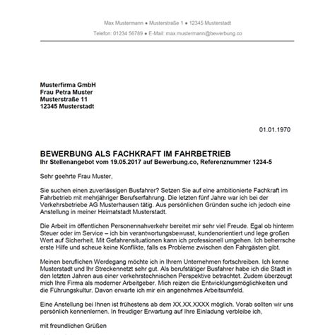 Anschreiben Bewerbung Rathaus Bewerbung Als Fachkraft Im Fahrbetrieb Bewerbung Co