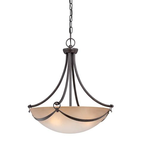 Allen And Roth Pendant Light Shop Allen Roth Winnsboro 19 5 In Bronze Wrought Iron Multi Light Marbleized Glass Bowl