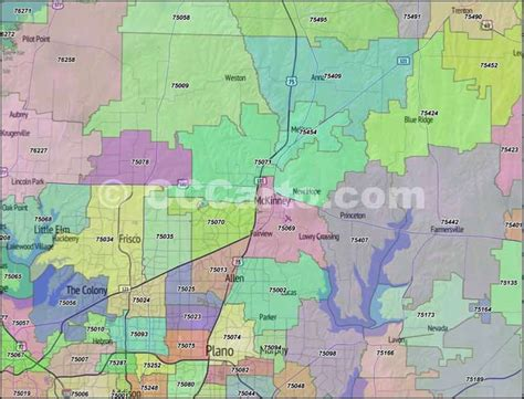 zip code map plano tx collin county texas zip code boundary map
