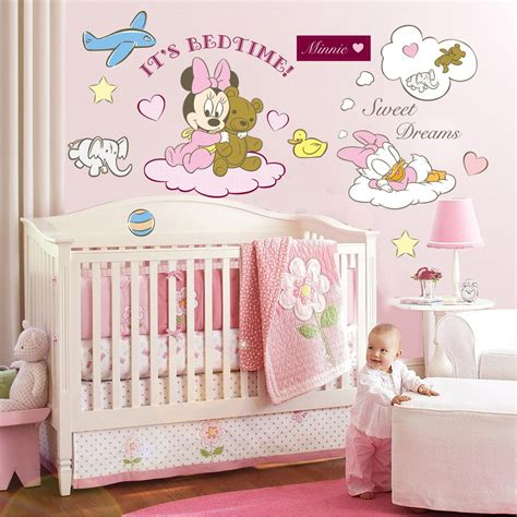 Disney Nursery Decor Minnie Mickey Mouse Disney Wall Stickers Pink For Baby Rooms Wallstickers Disney Style