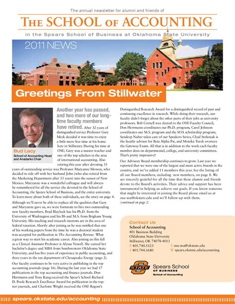 Mba Office Accounting Isu by Osu School Of Accounting Newsletter By School Of
