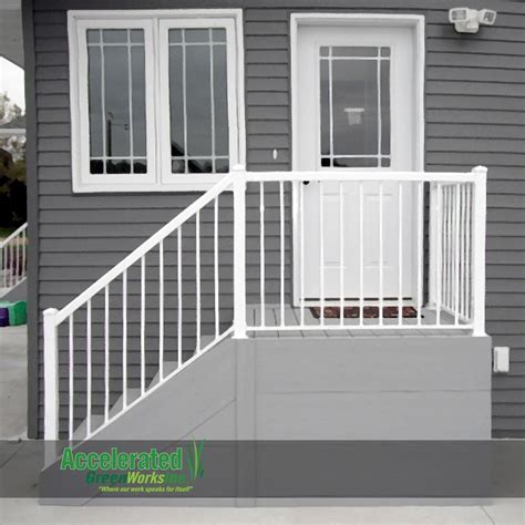Front Door Railing Simple Maintenance Free Steps For A Side Door Entry Classic Gray Decking And Fascia With White