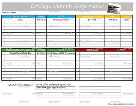 College Essay Organizer Scholarship by 7 Best Images Of College Assignment Planner Printable College Student Planner Printable