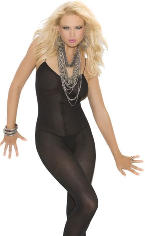 Bodystocking Opaque Low Neck Open Crotch open crotch opaque bodystocking