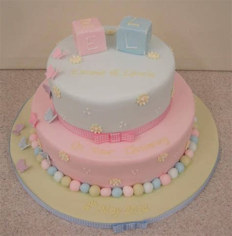 boy and twins cake decoration for christening party