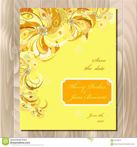 Wedding Background Orange by Peacock Feathers Wedding Card Printable Vector Background