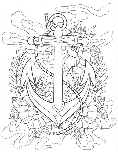 nautical mandala coloring pages anchor and octopus tattoo coloring pages