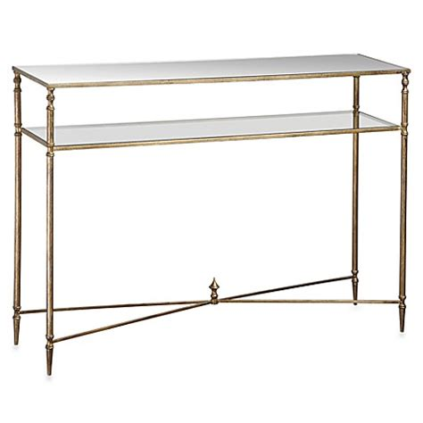 bed bath and beyond sofa table uttermost henzler metal mirrored glass console table www
