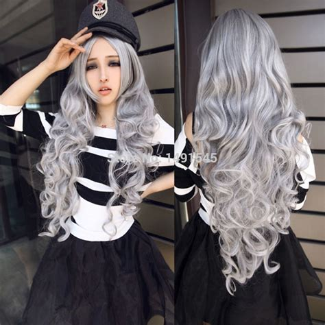 ladies new fashion trend alert grey hair weave is the new fad in women s sexy harajuku style body wave long curls gray hair
