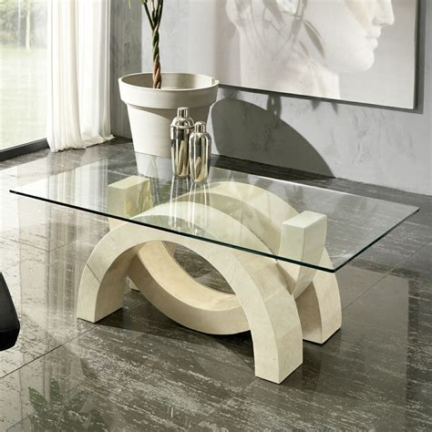 glass and fossil coffee table