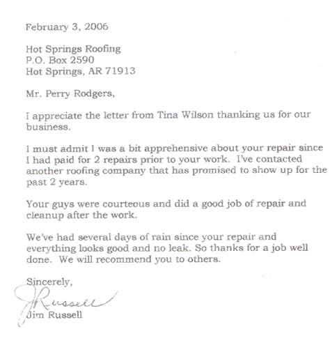 Sle Credit Card Acceptance Letter Springs Roofing