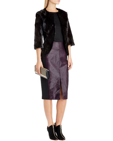 ted baker pony skin effect leather pencil skirt in purple