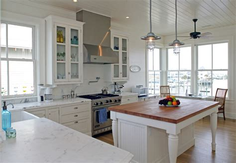 Impressive Butcher Block Island In Kitchen Traditional White Kitchen Lighting