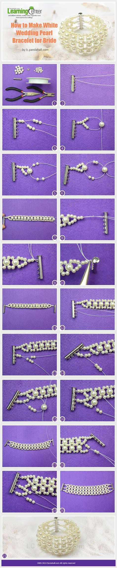 How to Make White Wedding Pearl Bracelet for Bride   Great Diy