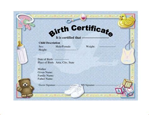 hospital birth certificate template 6 birth certificate templates bookletemplate org