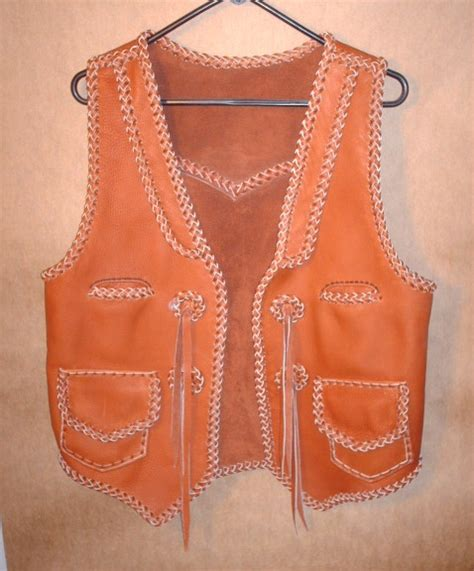 Handmade Leather Vest - western leather vests custom made w braided quality