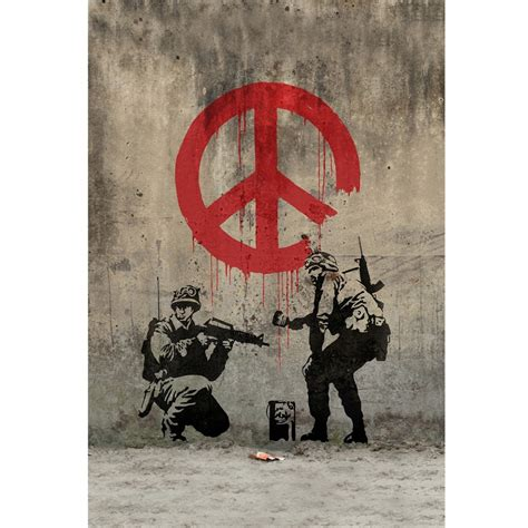 banksys  soldiers painting peace