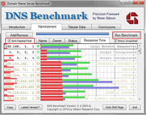 bench dns use dns benchmark to test performance and speed of dns servers