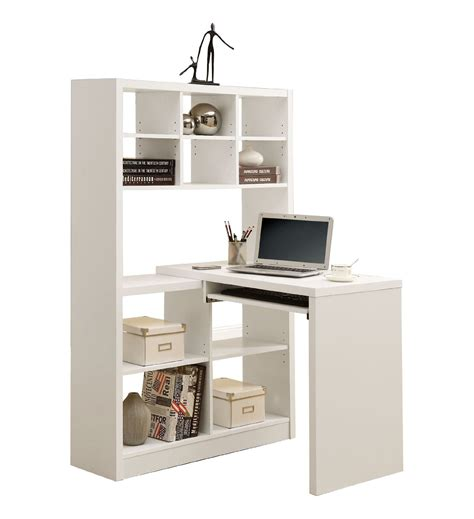 White Painted Oak Wood Small Desk With Book Shelf Field White Painted Desk