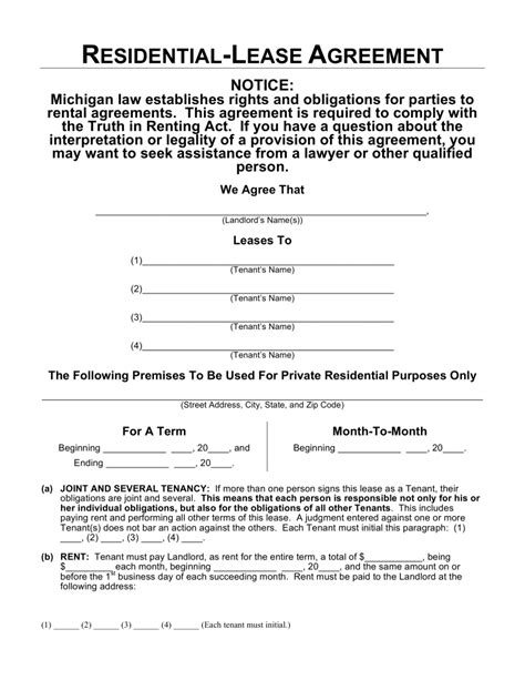 residential property lease agreement template free michigan residential lease agreement template word