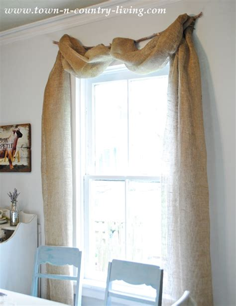How To Hang Swag Valances no sew landscape burlap swag curtains town country living
