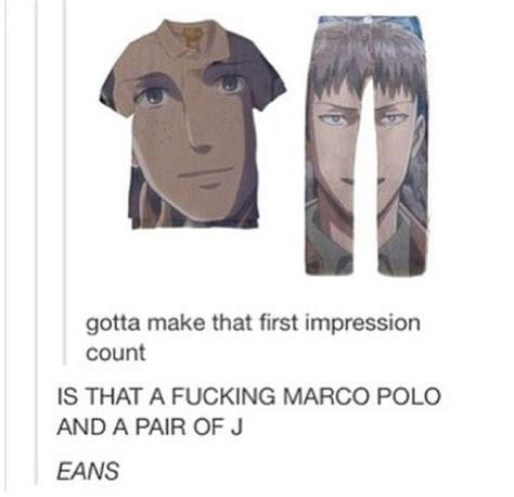 Marco Polo Meme - marco polo jeans attack on titan snk pinterest