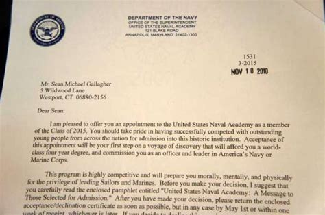 Letter Of Appointment Usna Staples Senior S Next Port Of Call Is Naval Academy Westport News