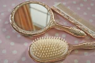 beautiful vintage dresser set mirror hair brush and comb in