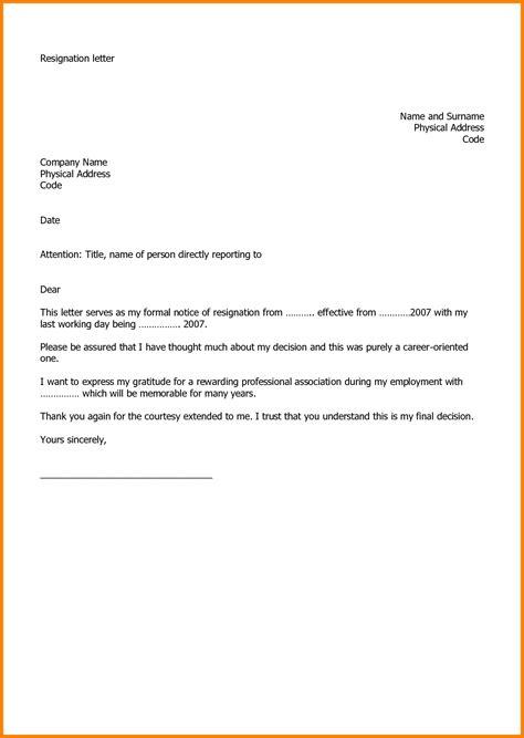 letter format job resignation resignation letter