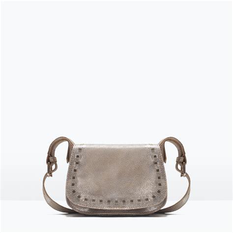 Zara Studded Crossbody zara studded leather messenger bag in gold lyst