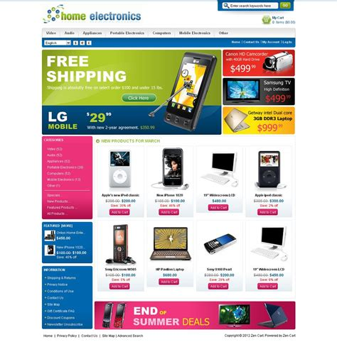 zen cart layout zen030054 premium zencart electronics store template