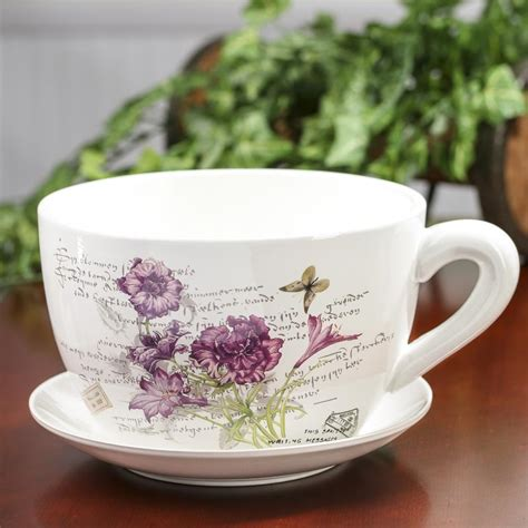 Tea Cup And Saucer Planter by Inspired Tea Cup And Saucer Flower Planter