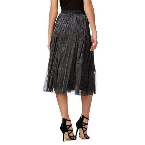 herring womens silver glitter mesh skirt from