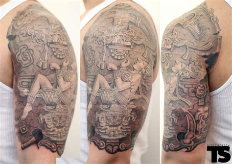 mayan tribal tattoos sleeves mayan half sleeve by lalo yunda tattoos