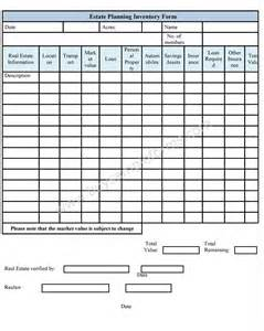 estate planning template estate planning inventory form sle forms