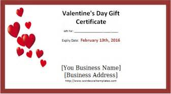Printable valentine s day gift certificates word amp excel templates