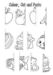 Teeth Stick Mini Green Bone color cut and paste worksheets worksheets for all