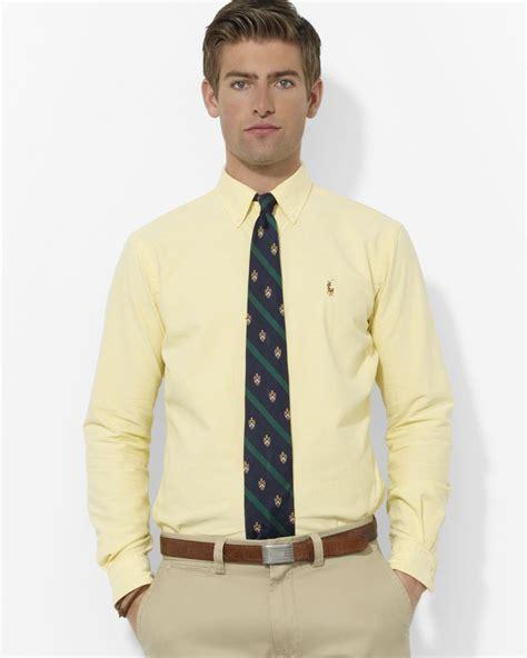 light yellow mens dress shirt ralph customfit oxford dress shirt in pink for