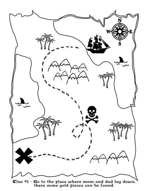 Printable Treasure Map Kids Activity Treasure Map Coloring Pages