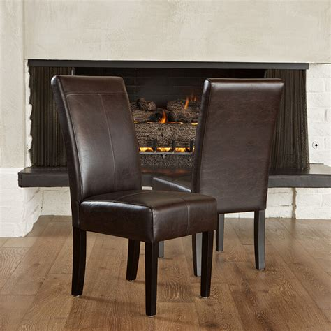 set   elegant design marbled brown leather parsons dining chairs ebay