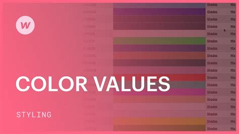 rgba color color values hex rgba and color names webflow css