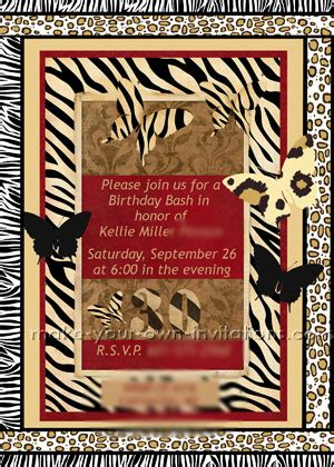 printable animal print birthday invitations jungle animal print invitations 30th birthday party invite