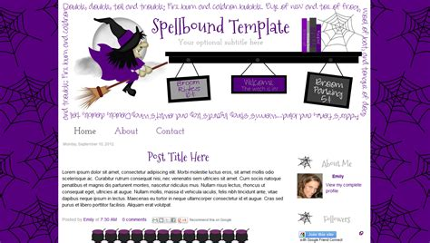 cute free halloween premade blog template design witch